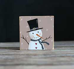 Pink Snowman Folk Art Painting Shelf Sitter