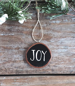 Joy Wood Slice Ornament