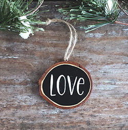 Love Wood Slice Ornament