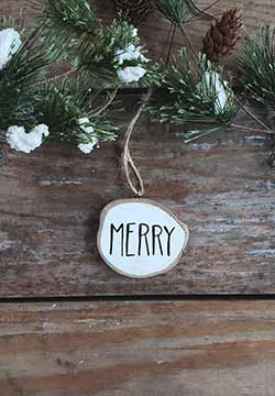 Merry Wood Slice Ornament