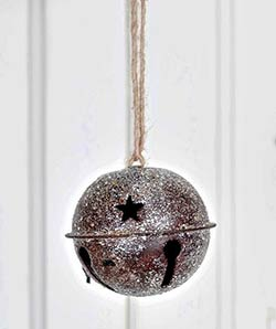Glittered Rusty Bell Ornament - 2.5 inch