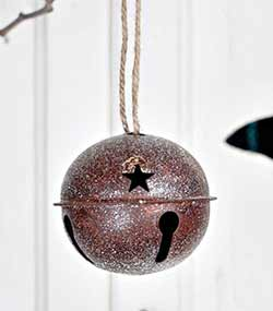 Glittered Rusty Bell Ornament - 3.5 inch