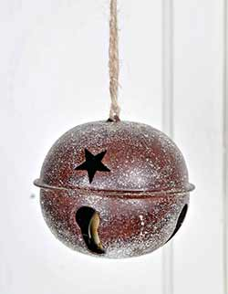Glittered Rusty Bell Ornament - 4.5 inch