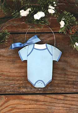 Blue Baby's First Christmas Bodysuit Ornament