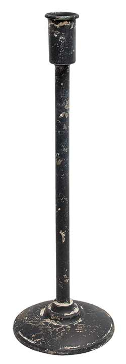Distressed Black Taper Candle Holder - 14.5 inches