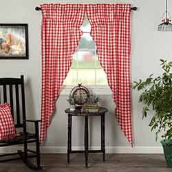 Annie Buffalo Red Check Long Prairie Curtain