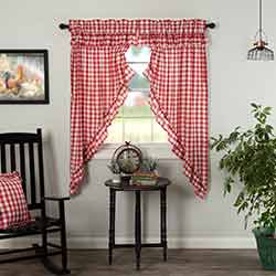 Annie Buffalo Red Check Ruffled 63 inch Prairie Curtain