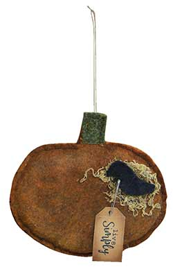 Pumpkin & Crow Felt Ornament