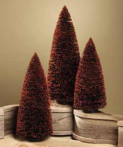 Extra Large Black & Orange Bottlebrush Trees (Set of 3)