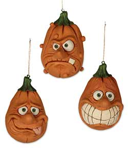 Silly Pumpkin Ornaments (Set of 3)