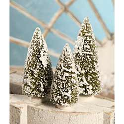 Olive Green Medium Bottle Brush Trees (Set of 3)