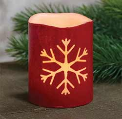 Snowflake Red Battery 4 inch Pillar Candle with Timer
