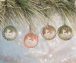 Pastel Leaping Stag Indent Ornaments (Set of 4)