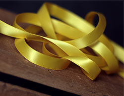 Yellow Double Faced Poly Satin Ribbon, 1/2 inch