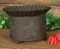 Punched Star Short Round Wax Warmer - Rustic Brown
