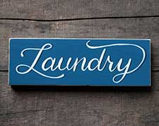 Bath & Laundry Wooden Signs