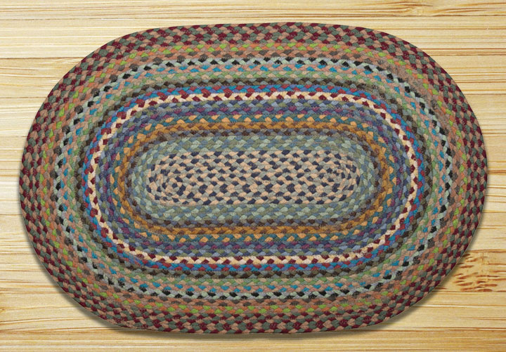 Blue, Violet, and Cream Braided Jute Rug, by Capitol Earth Rugs