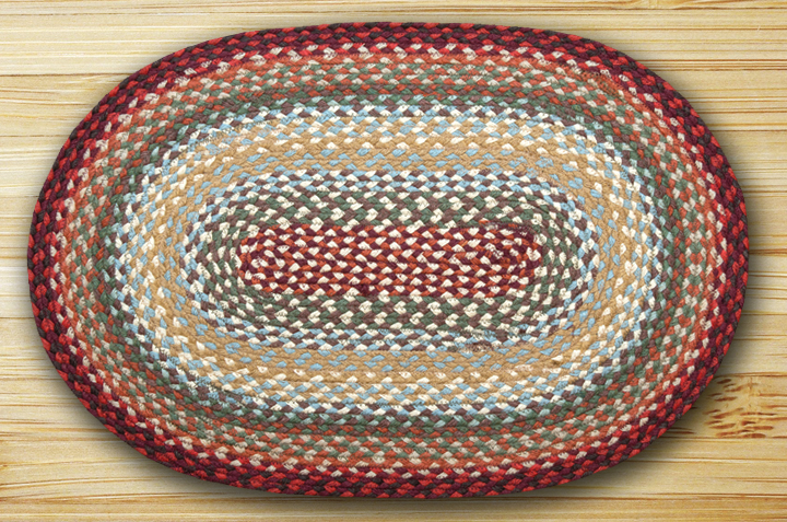 Thistle Green & Country Red Braided Rug, by Capitol Earth Rugs