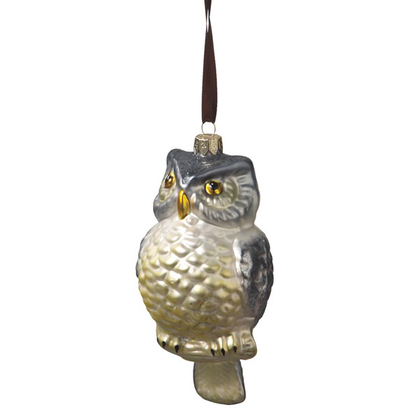 White Glass Owl Ornament, by Seasons of Cannon Falls