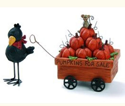 Crow with Pumpkin Wagon, by Blossom Bucket