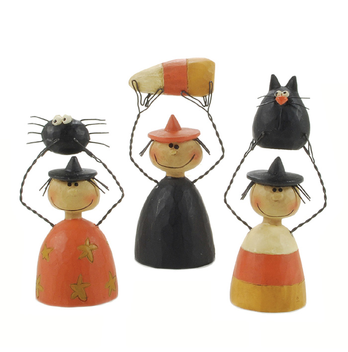Spider, Cat, and Candy Corn Witches (Set of 3)