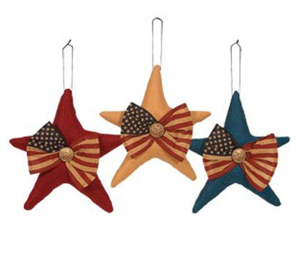 Patriotic Wool Hanging Star, by Primitives by Kathy