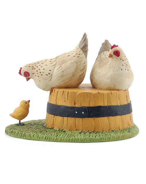 Hens on Bushel with Chick, by Blossom Bucket