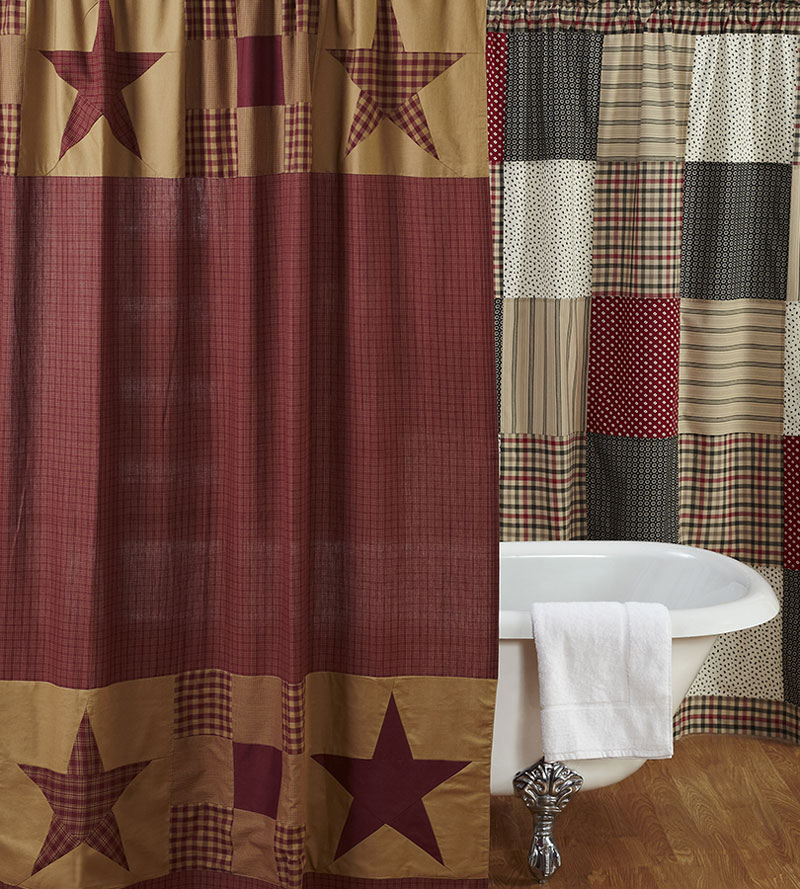 maroon shower curtain set. Ninepatch Star Shower Curtain  by VHC Brands The Weed Patch