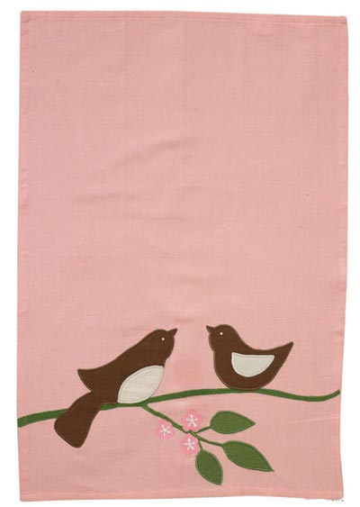 Bird Pair Applique Dishtowel, by Split P