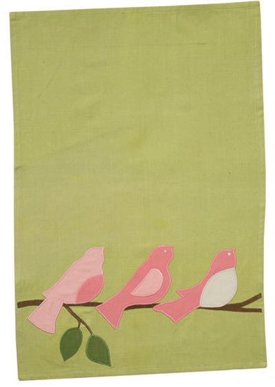 Bird Trio Applique Dishtowel, by Split P