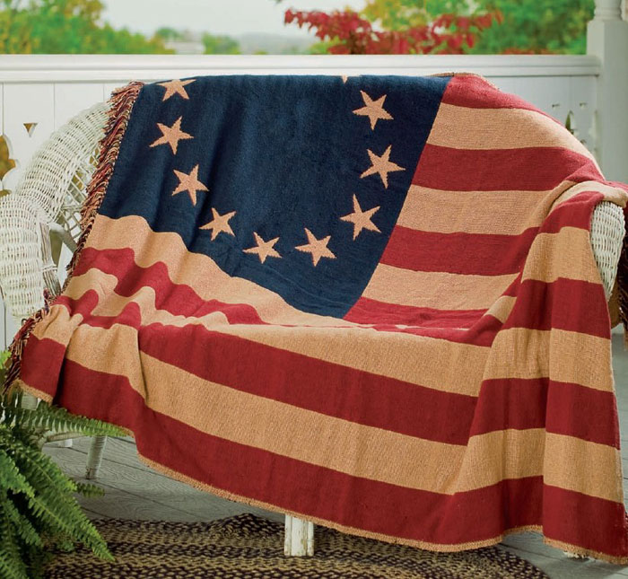 Old Glory Woven Throw, by Victorian Heart