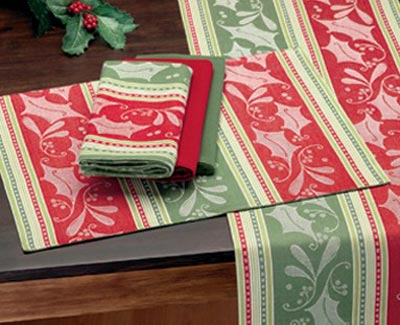 Holly Stripe Jacquard Napkin, by DII