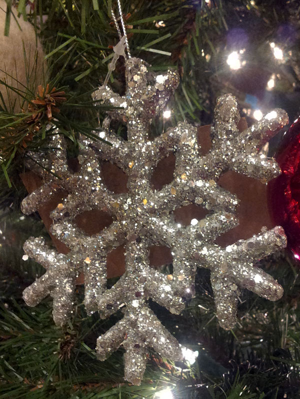 Silver Glitter Snowflake Ornament, by Primitives by Kathy