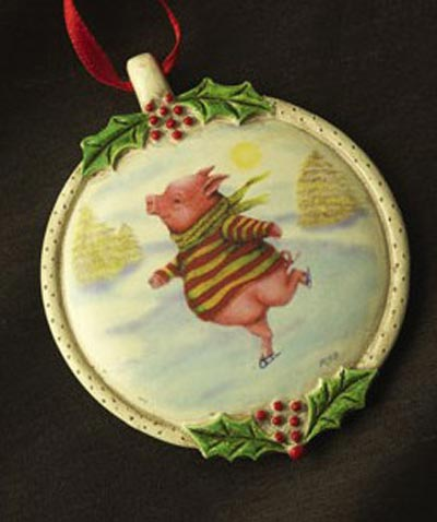 Skating Pig Ornament, by Demdaco