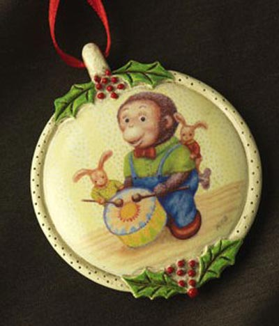 Drumming Monkey Ornament, by Demdaco