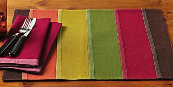 Fall Stripe Pleated Placemat, by Tag