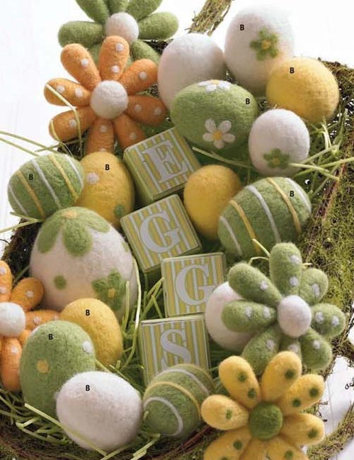 Green and Yellow Felt Egg, by K & K Interiors