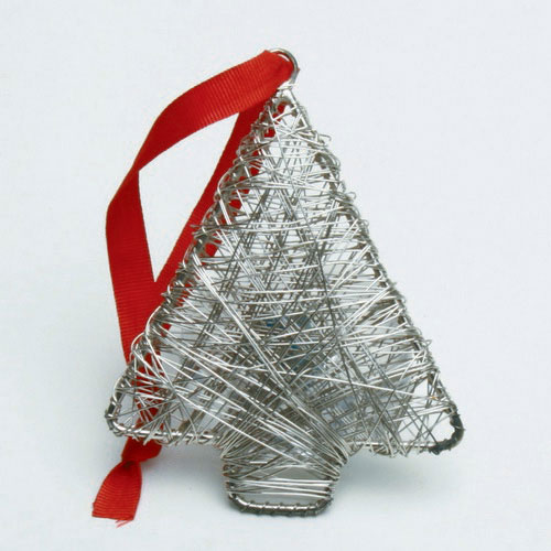Silver Wrapped Metal Star Ornament, by Tag