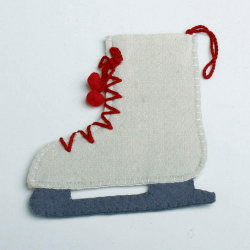 Ice Skate Felt Ornament or Flatware Holder, by Tag