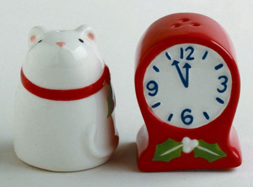 Mouse & Clock Salt and Pepper Shaker Set, by Tag