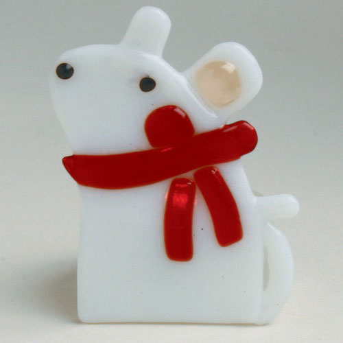 Whimsy Mouse Fused Glass Tealight, by Tag