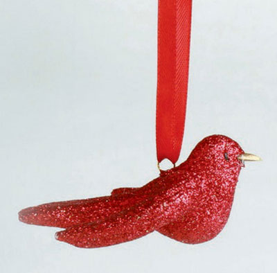 Glittered Bird Ornament - Red