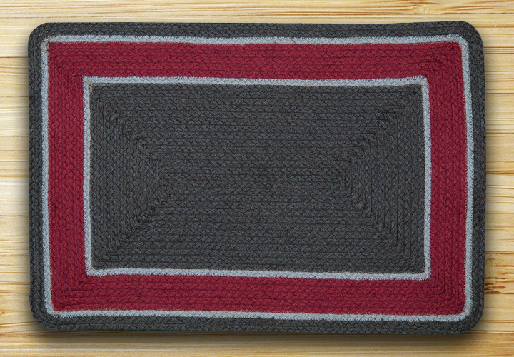 Graphite & Burgundy Braided Jute Rug, by Capitol Earth Rugs