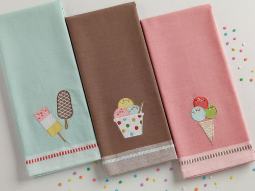Ice Cream Pops Applique Dishtowel, by DII