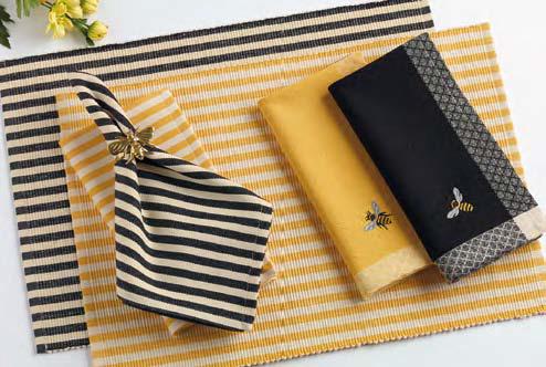 Black Petite Stripe Napkin, by DII