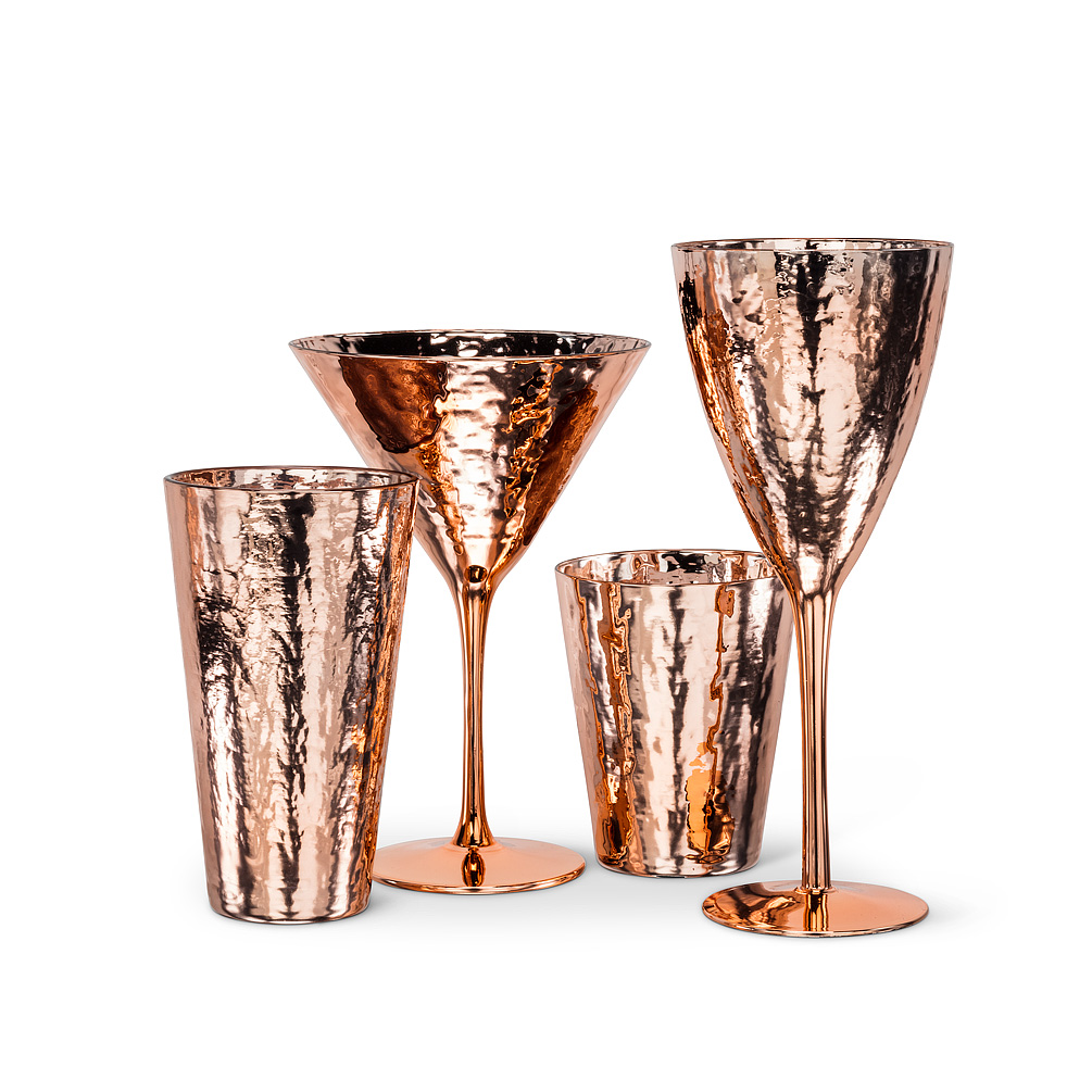 Hammered Copper Finish Tumblers