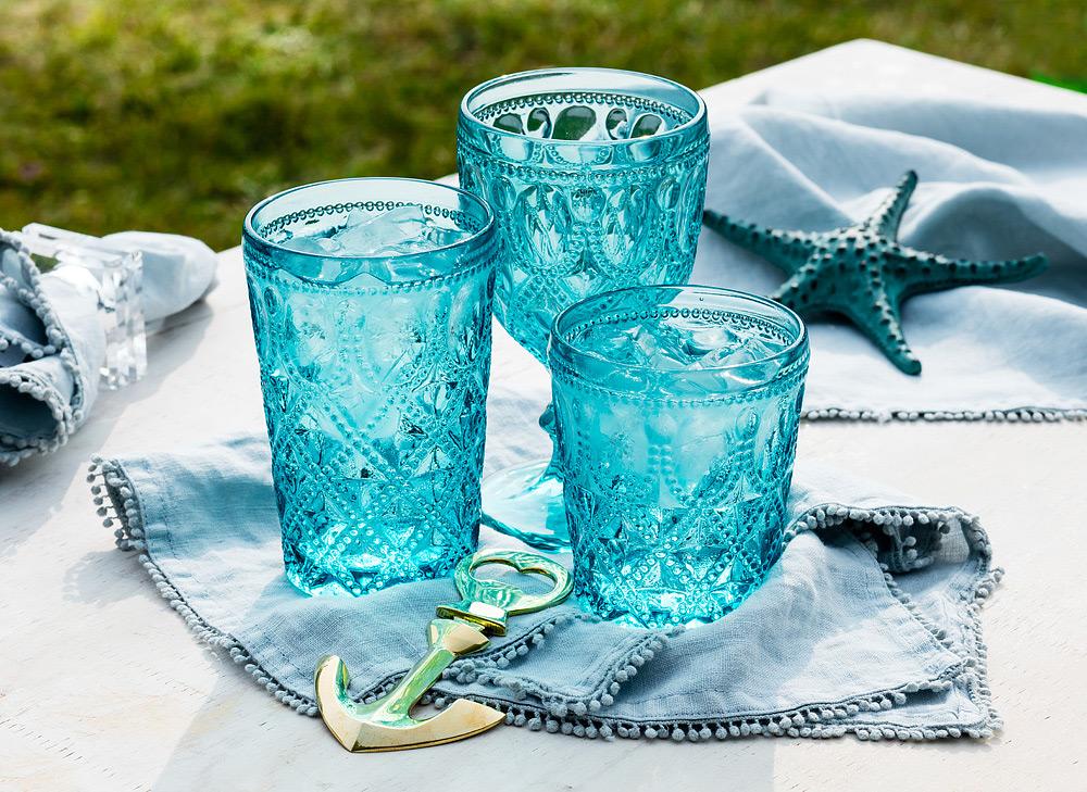 Turquoise Jewel Glassware