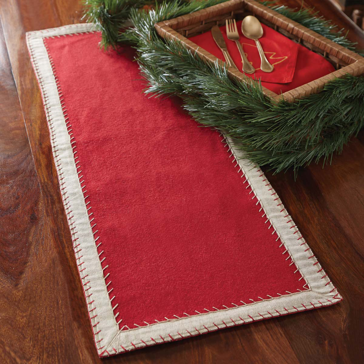 oslo red felt 36 inch table runner the weed patch. Black Bedroom Furniture Sets. Home Design Ideas