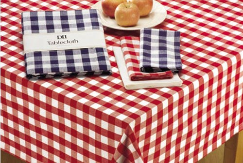 Flame Red & White Checkers Tablecloth, by DII