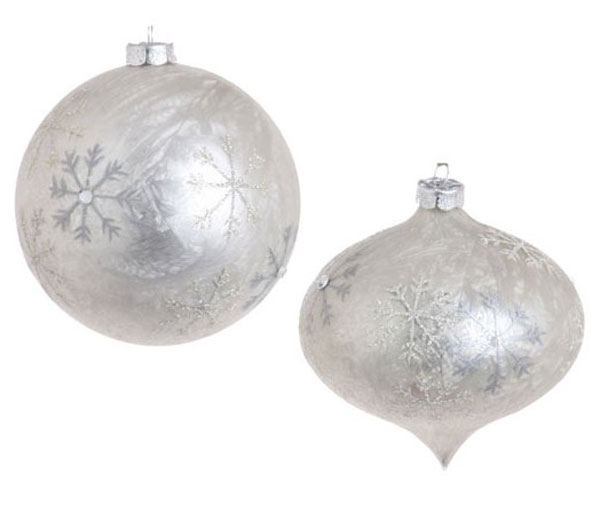 White Frosted Snowflake Ornament